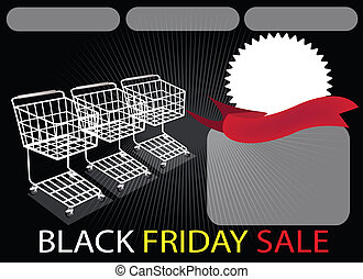 Three Shopping Carts and Banner on Black Friday Background -...