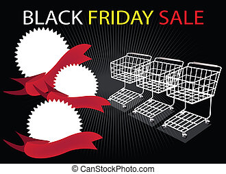 Shopping Carts and Banners on Black Friday Background -...