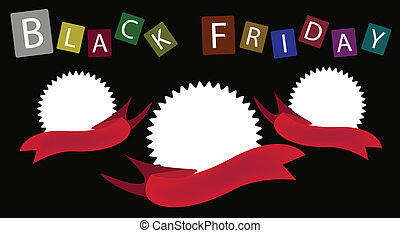 Three Round Banners on Black Friday Background - Tree Blank...