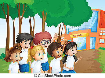 Six happy students in front of the school building -...