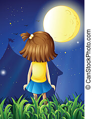 A little girl facing the bright fullmoon - Illustration of a...