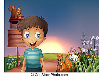 Illustration of a young boy and two squirrels near the empty...