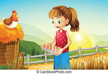 A young girl holding an egg tray - Illustration of a young...