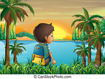 A boy with a bag watching the sunset - Illustration of a boy...