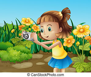 A girl taking photos at the garden - Illustration of a girl...