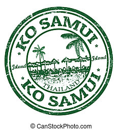 Ko Samui stamp - Green grunge rubber stamp with the name of...