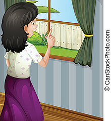 A mother facing the window - Illustration of a mother facing...