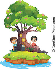 Two boys at the back of the enchanted treehouse