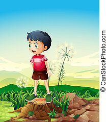 A little boy standing above the stump - Illustration of a...