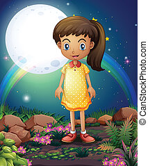 A little girl in the rocky garden - Illustration of a little...