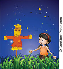 A girl mimicking the scarecrow - Illustration of a girl...