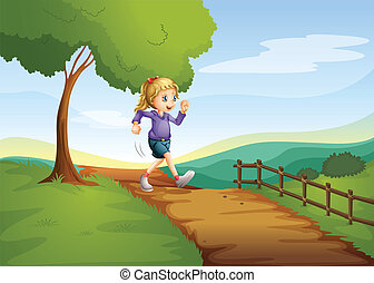 A young lady running hurriedly