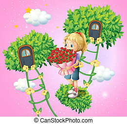 A girl holding a bouquet of flowers - Illustration of a girl...