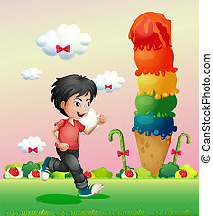 A boy running in the candyland