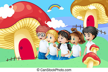 Five students near the giant mushroom houses - Illustration...