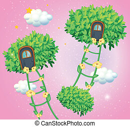 The green ladders going to the sky - Illustration of the...