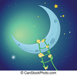 A ladder going to the moon - Illustration of a ladder going...