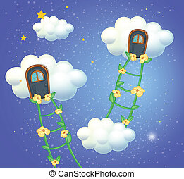 Clouds with doors in the sky