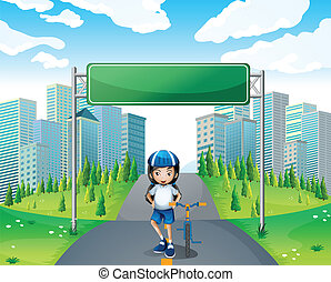 A girl standing below the empty signboard