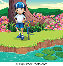 A girl and her bicycle at the riverbank - Illustration of a...