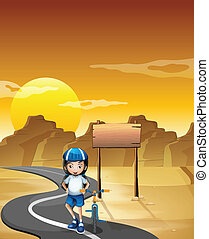 A girl and her bicycle at the road near the empty signboard
