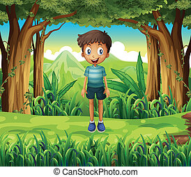 A smiling boy in the woods - Illustration of a smiling boy...