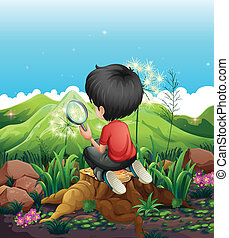A boy above a stump with a magnifying glass - Illustration...
