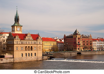 old prague - old castles and towers of prague. view of the...