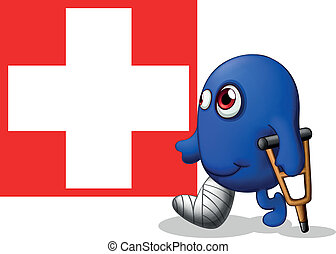 An injured monster near the red cross signage - Illustration...