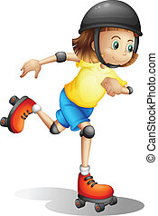 A young girl rollerskating - Illustration of a young girl...
