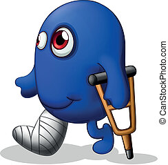An injured blue monster - Illustration of an injured blue...
