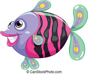 A pretty fish - Illustration of a pretty fish on a white...