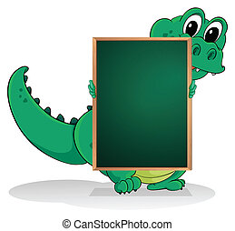 A small crocodile at the back of an empty greenboard -...