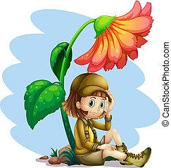 un, avventuriero, sotto, ombra, fiore