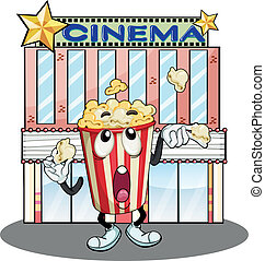 A popcorn at the cinema - Illustration of a popcorn at the...
