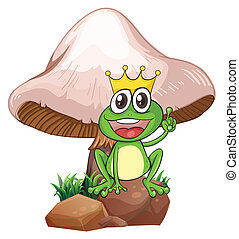 A king frog near the giant mushroom - Illustration of a king...