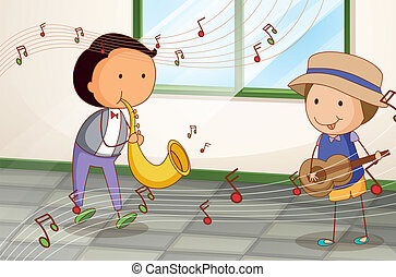 Two musicians with a saxophone and a guitar