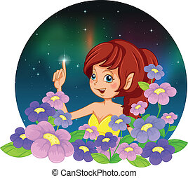 A girl and the flowers