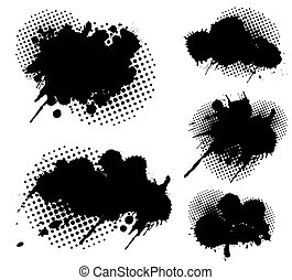 Grunge splatters and dots set