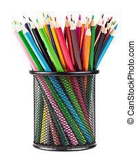 Color pencils in black office cup - Various color pencils in...