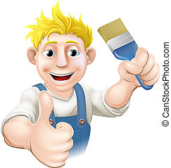 Painter with paintbrush - An illustration of a cartoon...