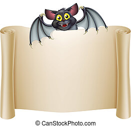 Halloween Bat Banner - Halloween bat banner with a bat...