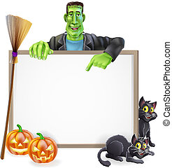 Frankenstein Halloween Sign - A Halloween sign with a...