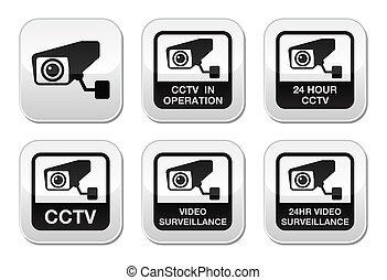 CCTV camera, Video surveillance - CCTV camera warning sign...