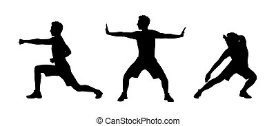 man practicing tai chi silhouettes set 1 - young white man...