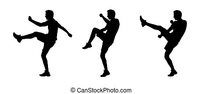 man fighting silhouettes set 1