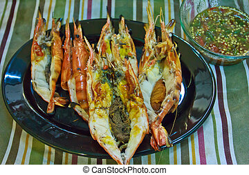 Grill prawns over hot charcoal 8 - Grill prawns over hot...