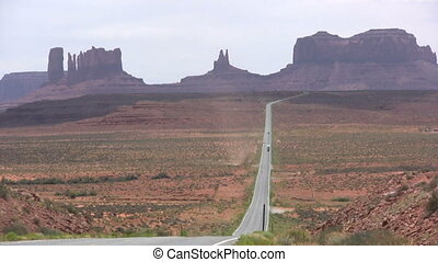 Highway into Monument Valley - along the highway into...