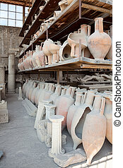 Pompeii antique pottery jugs.
