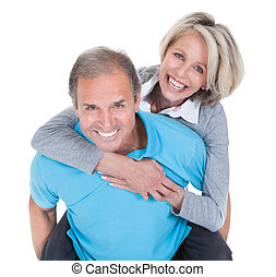 Mature Man Piggybacking His Wife - Mature Man Piggybacking...
